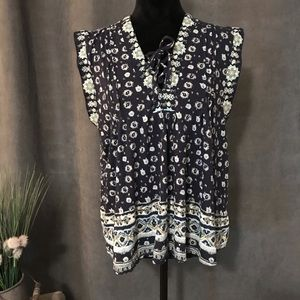 Lucky Brand Sleeveless Patterned Top, Size XL